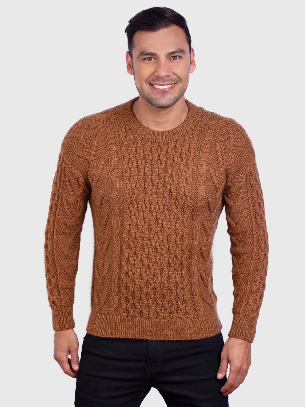 Hand knit Warm Ochre Aran Alpaca Sweater for Men