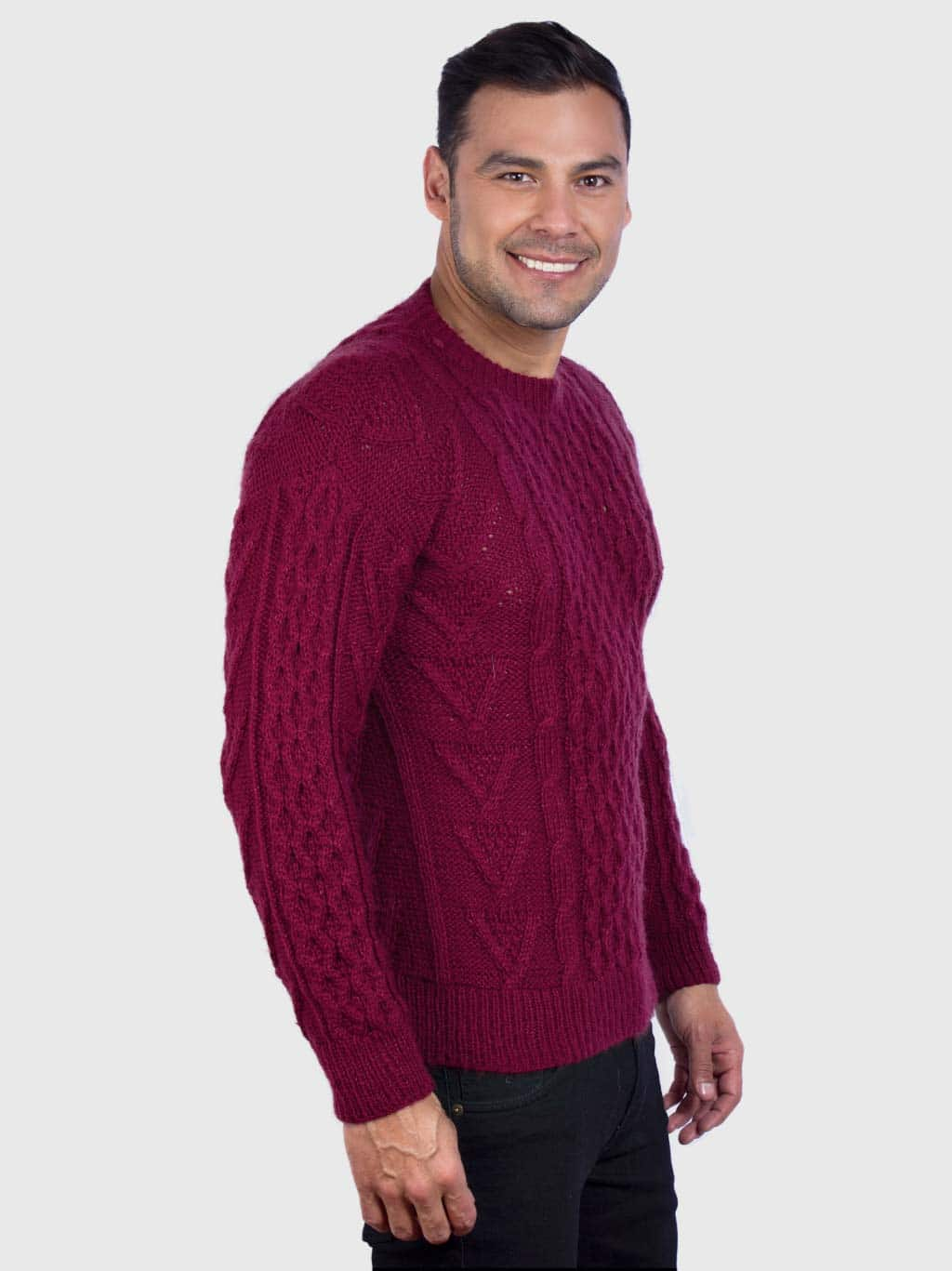 Hand knit Warm Burgundy Aran Alpaca Sweater for Men Inti Alpaca Alpaca Clothing
