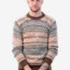 INTI0219 Intialpaca Men's Crewneck Fair Isle Alpaca Sweater in Beige Tones