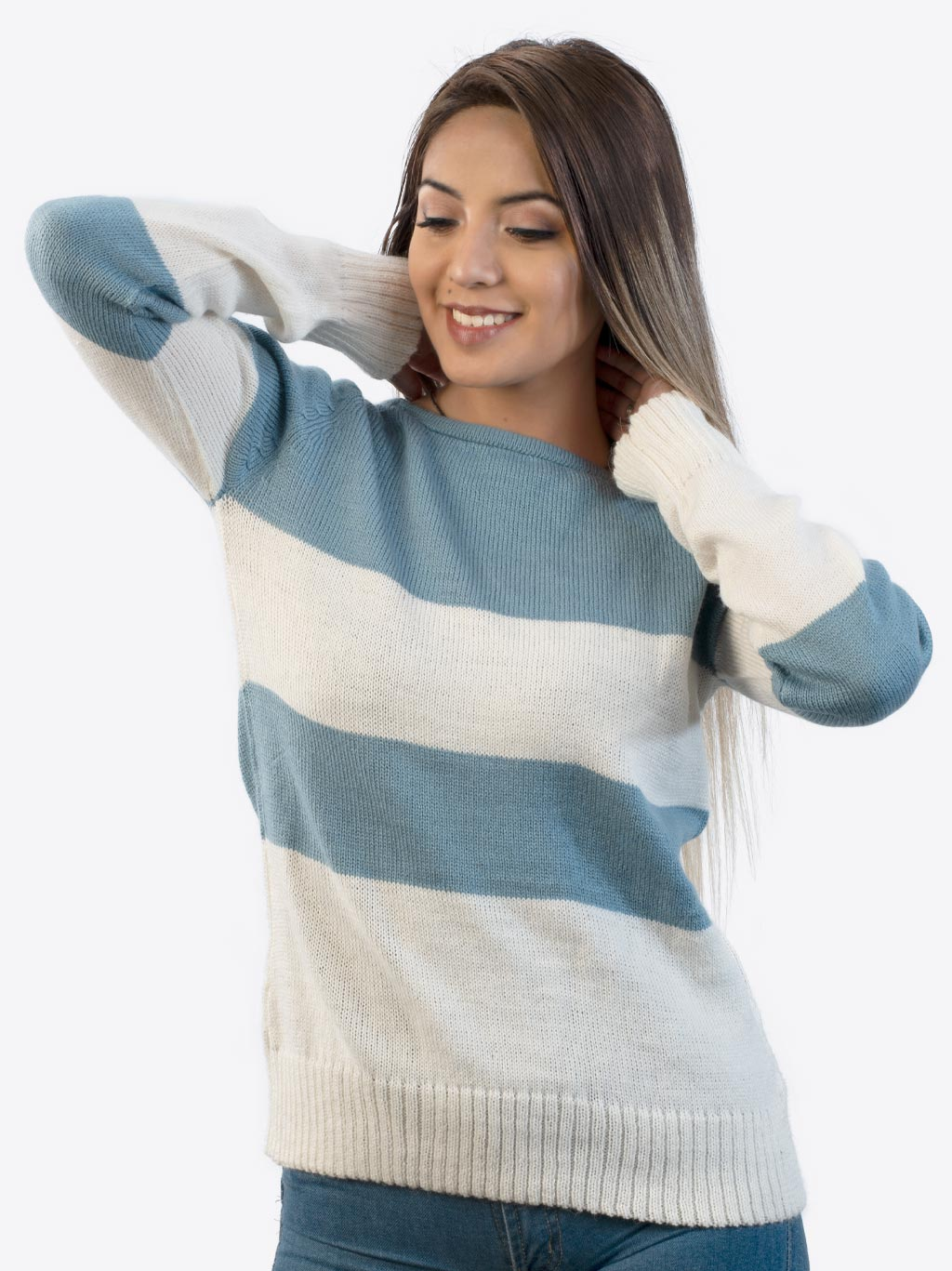 Women's Alpaca Sweater in Light Blue and White wool