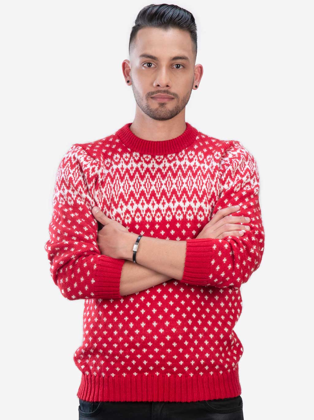 Red and White Crewneck Soft Alpaca Sweater for Men ...